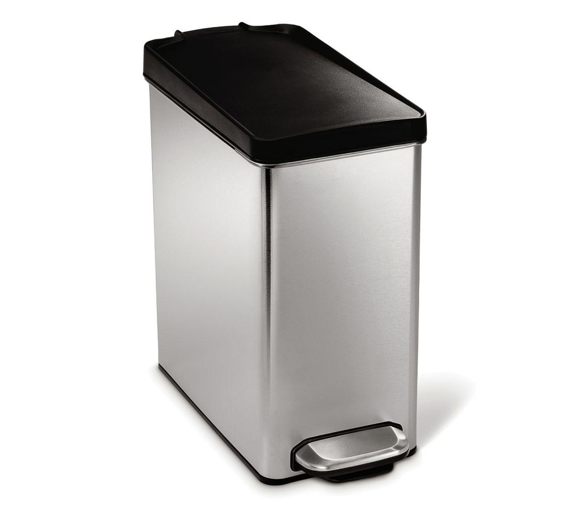 Pedálový odpadkový koš Simplehuman – 10 l, hranatý, plastové víko, matná ocel