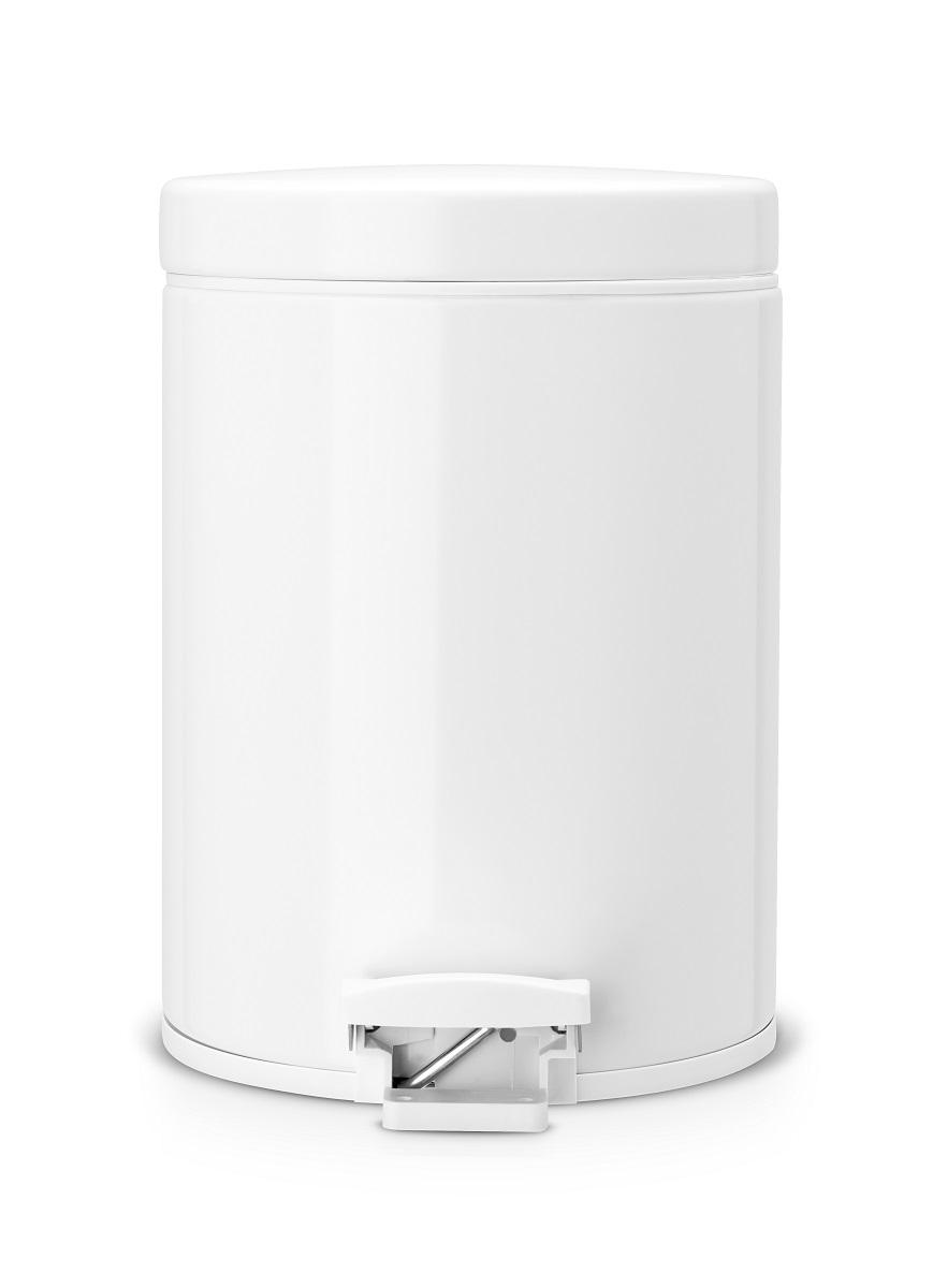 Brabantia pedálový koš na odpadky - 5 l, plastové vědro, bílý 283420