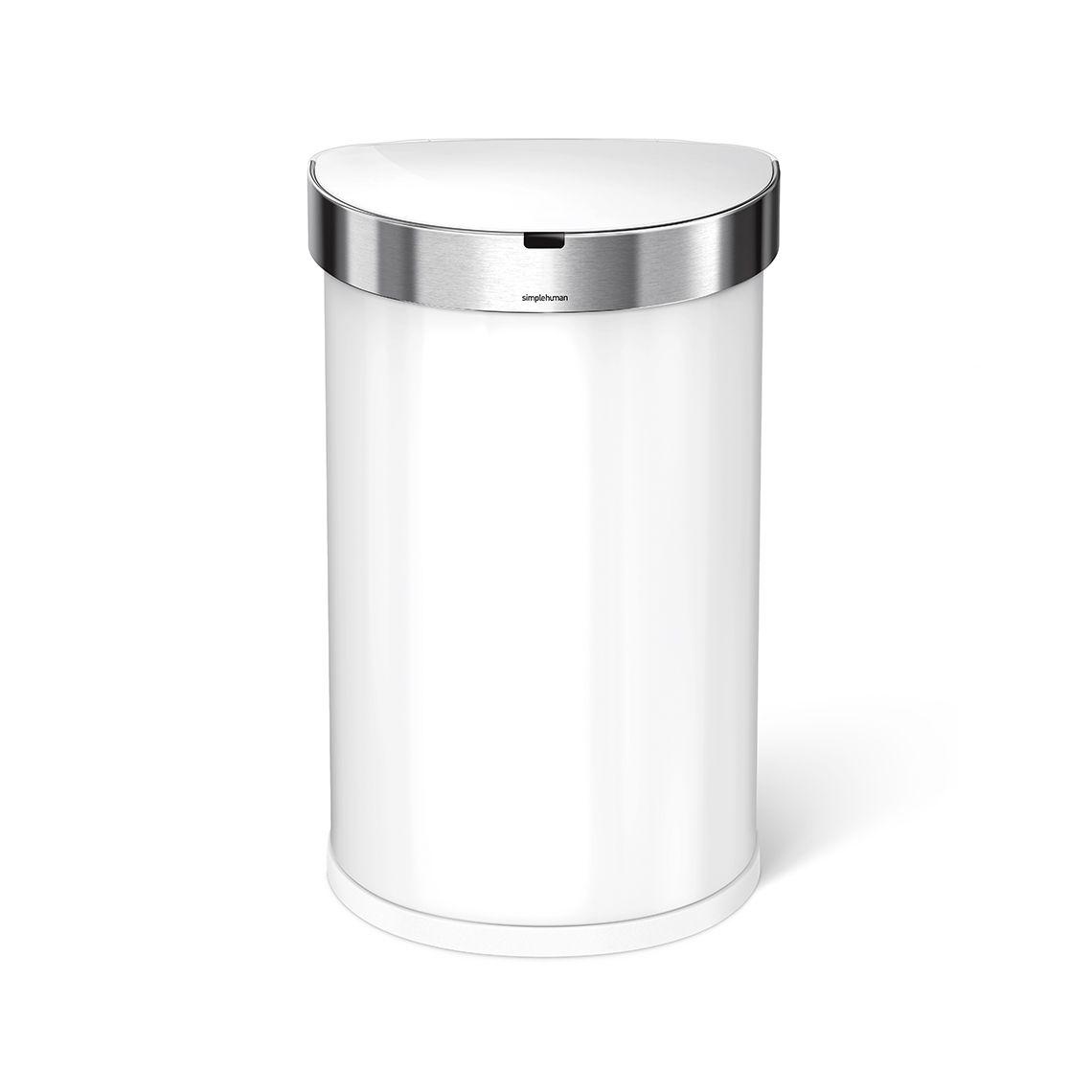 Bezdotykový odpadkový koš Simplehuman - 45 l, půlkulatý, bílá ocel, dávkovač sáčků