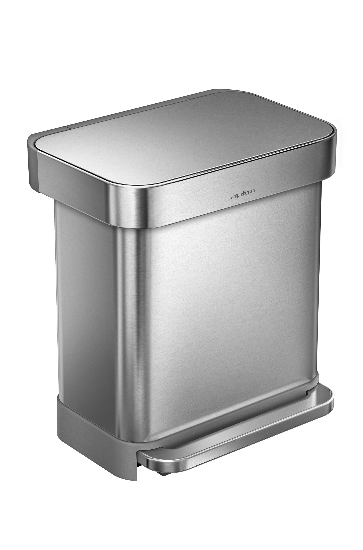 Pedálový odpadkový koš Simplehuman – 30 l, matná ocel, FPP, kapsa na sáčky