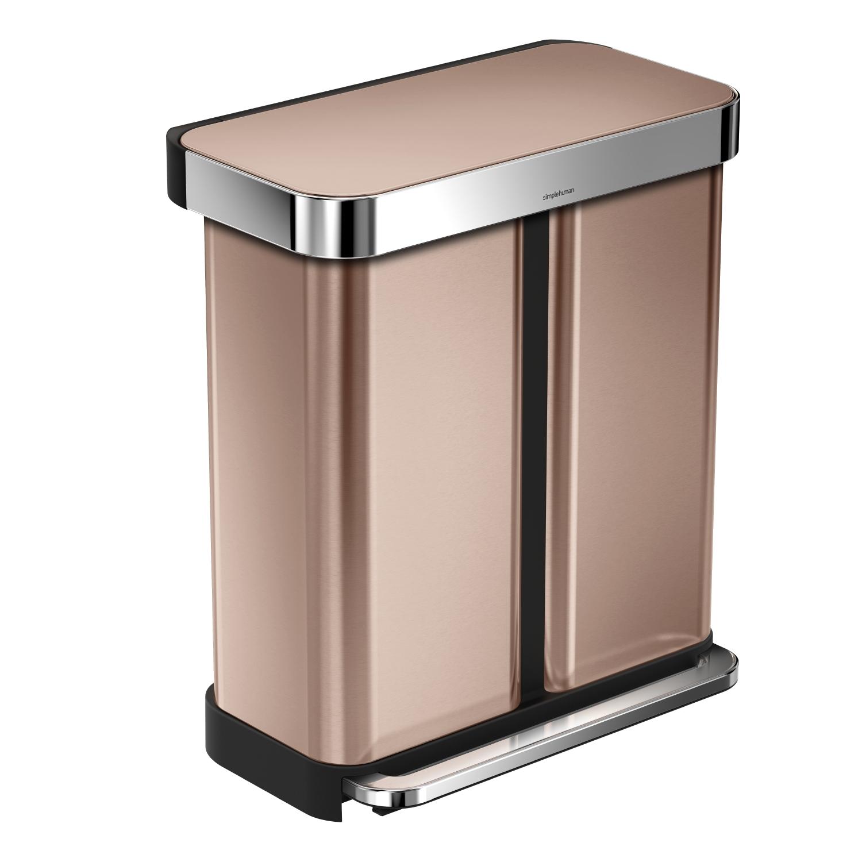 Pedálový odpadkový koš Simplehuman na tříděný odpad – 58l, bronzový - ROSE GOLD