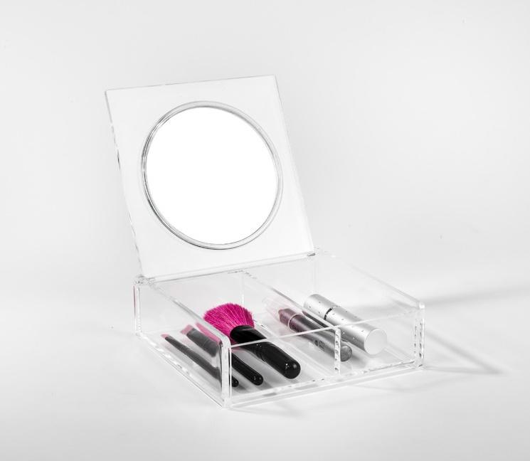Organizér na kosmetiku se zrcátkem Compactor – 2 přihrádky, čirý plast