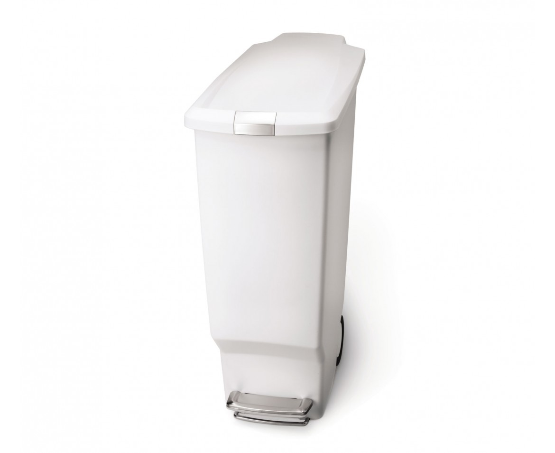 Pedálový odpadkový koš Simplehuman- 40 l, úzký, bílý plast - skladem