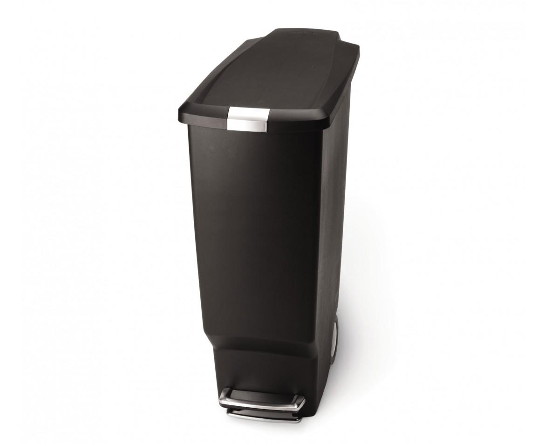 Pedálový odpadkový koš Simplehuman - 40 l, úzký, černý plast - skladem