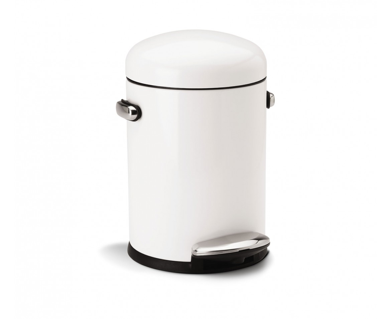 Retro pedálový odpadkový koš Simplehuman – 4,5 l, bílý - skladem
