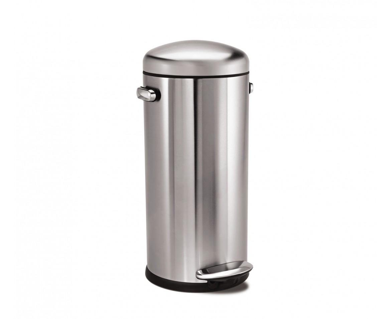 Retro pedálový odpadkový koš Simplehuman – 30 l, matná ocel, FPP - skladem