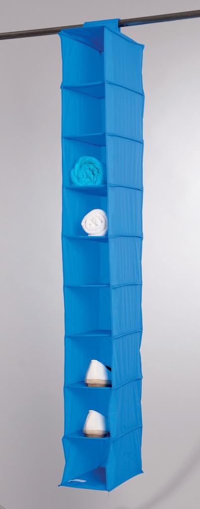 Závěsný organizér na boty, ponožky a prádlo Compactor 15 x 30 x 128 cm – 9 polic, modrý