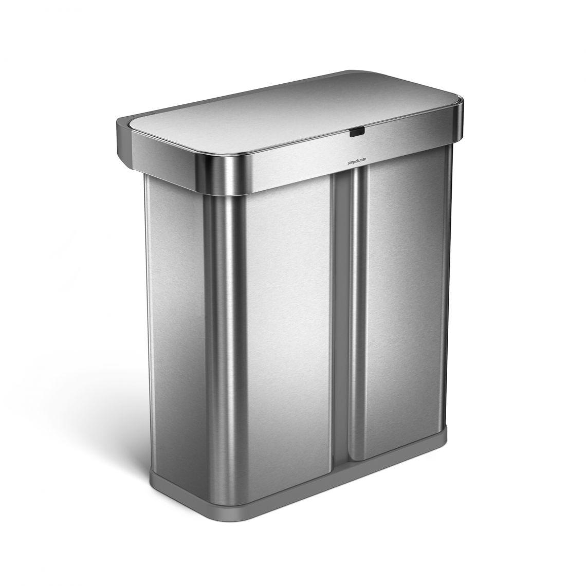 Bezdotykový odpadkový koš Simplehuman s hlasovým a pohyb.sensorem, 58 L, nerez, adaptér