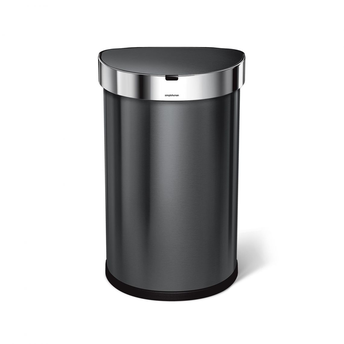 Bezdotykový odpadkový koš Simplehuman - 45 l, půlkulatý, černá ocel, kapsa na sáčky