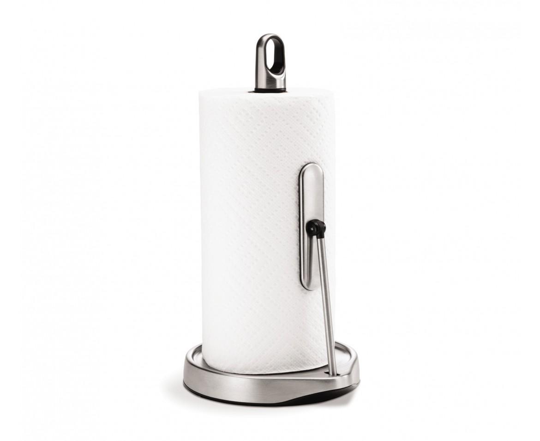 Držák na kuchyňské utěrky s ramenem, Simplehuman – pro role do 28 cm, matná ocel