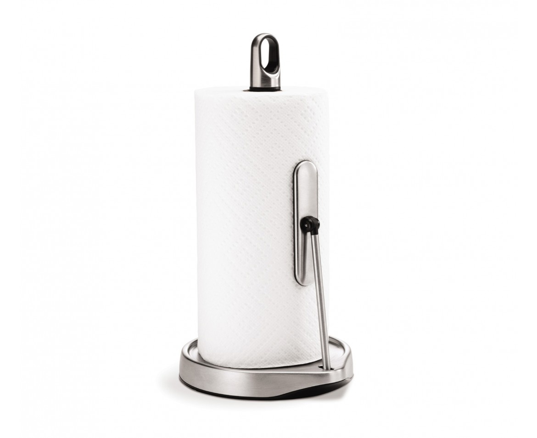 Držák na kuchyňské utěrky s ramenem, Simplehuman - pro role do 23 cm, matná ocel
