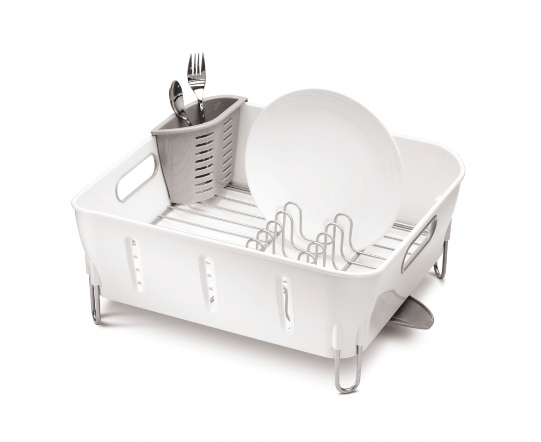 Odkapávač na nádobí Simplehuman - Compact, bílý plast