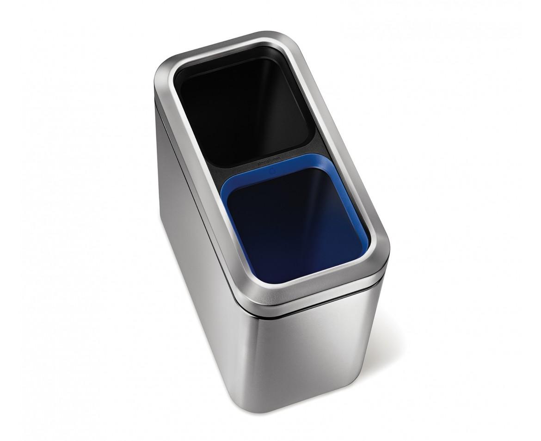 Odpadkový koš na tříděný odpad, Simplehuman - 10/10 l, otevřený, matná ocel, FPP