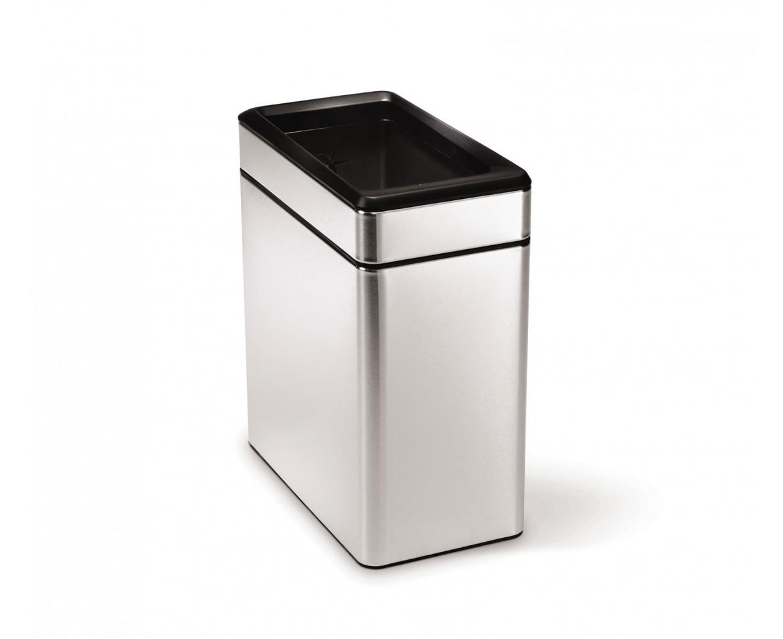 Odpadkový koš Simplehuman - 10 l, hranatý, otevřený, matná ocel