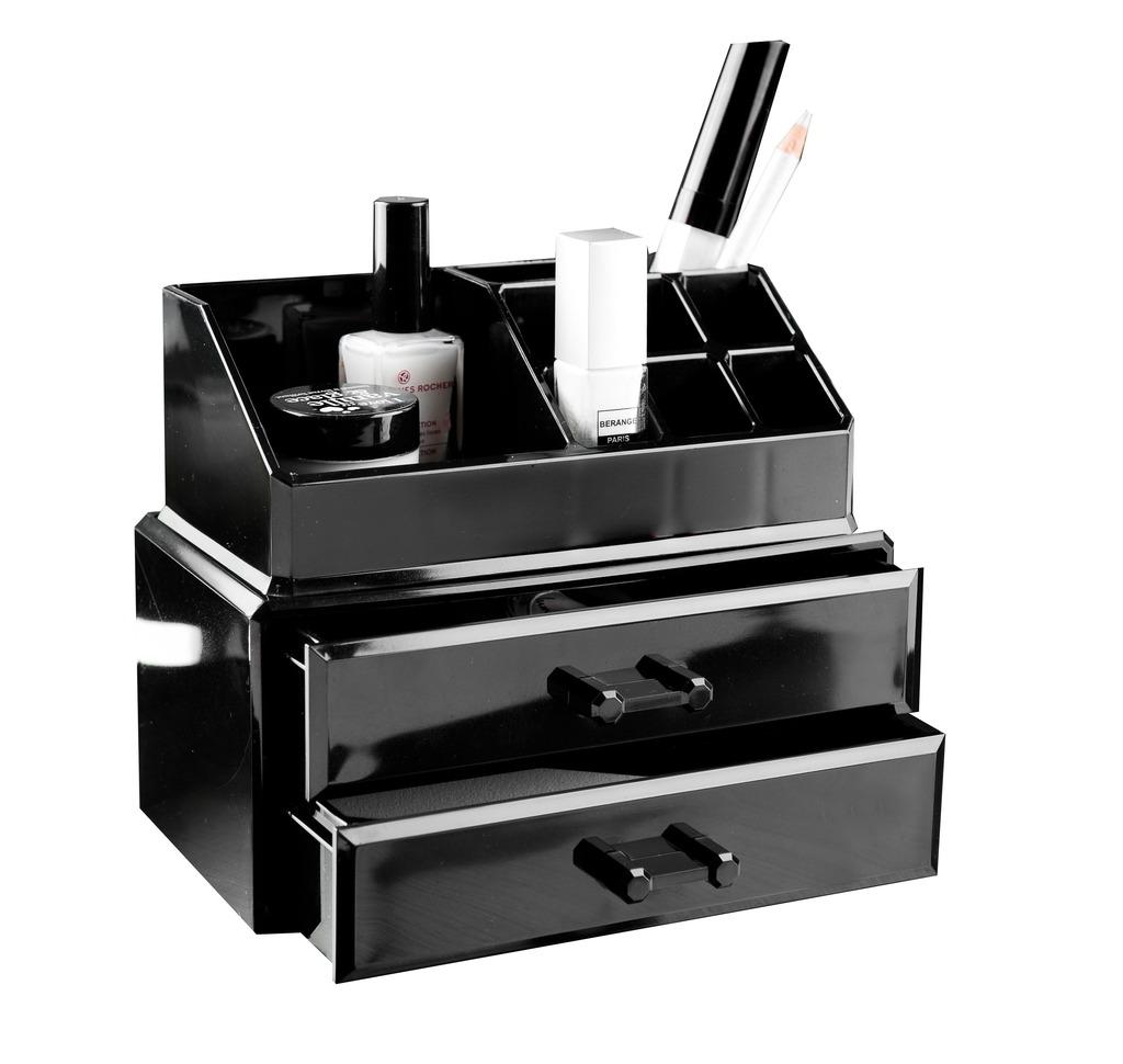 Compactor organizér na kosmetiku – 2 zásuvky, horní úložný díl, černý plast