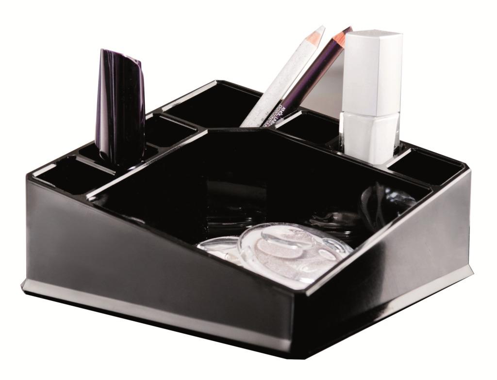 Organizér na kosmetiku Compactor – 8 přihrádek, kompaktní rozměry, černý plast