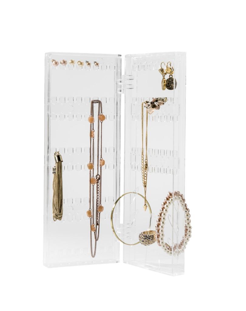 Organizér na šperky Compactor – vhodný pro náušnice, náramky a prstýnky, čirý plast