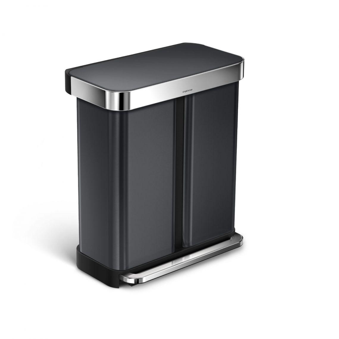 Pedálový odpadkový koš Simplehuman na tříděný odpad – 58l, Black