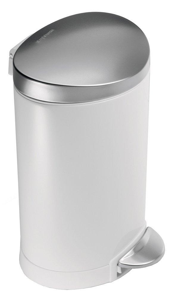 Pedálový odpadkový koš Simplehuman - 6 l, půlkulatý, FPP bílá/víko a pedál matná ocel - skladem