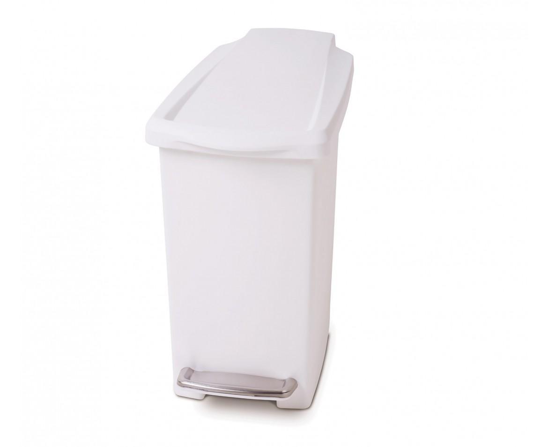 Pedálový odpadkový koš Simplehuman - 10 l, úzký, bílý plast - skladem
