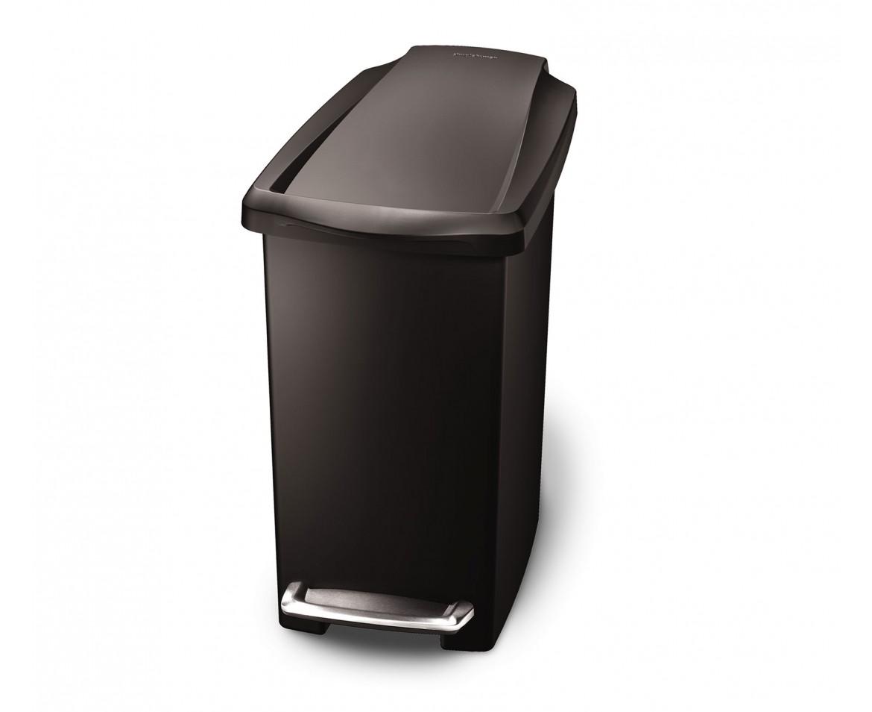 Pedálový odpadkový koš Simplehuman - 10 l, úzký, černý plast - skladem