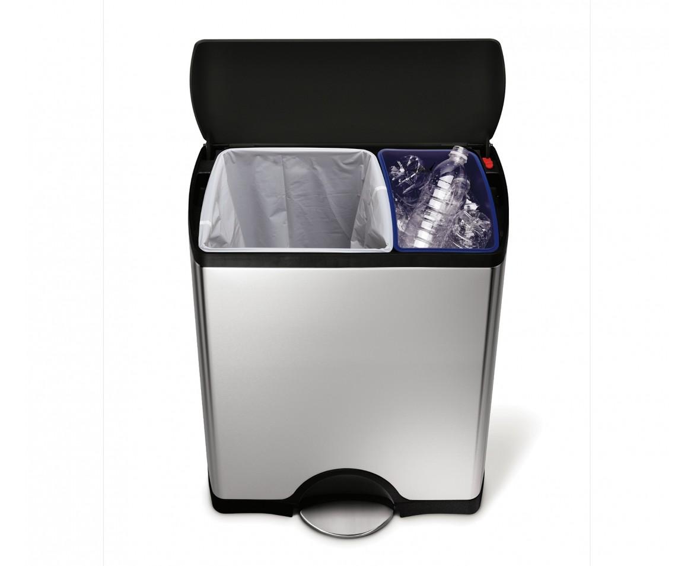 SIMPLEHUMAN Pedálový odpadkový koš na tříděný odpad - 30/16 l, ocel CW1974