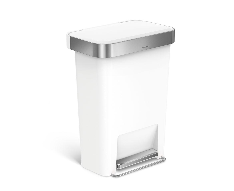 Simplehuman Pedálový odpadkový koš, 45 l, kapsa na sáčky, obdélníkový, bílý plast / nerez