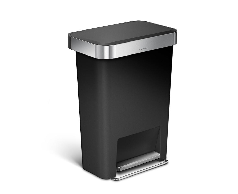 Simplehuman Pedálový odpadkový koš, 45 l, kapsa na sáčky, obdélníkový, černý plast /nerez