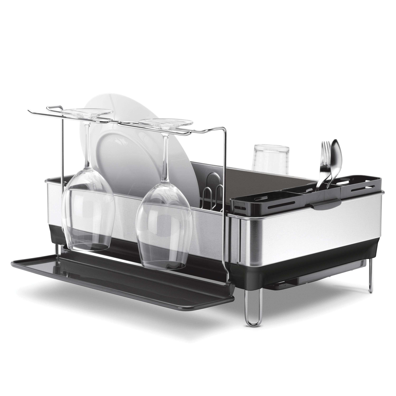 Odkapávač na nádobí Simplehuman - ocelový rám, matná ocel/šedý plast, FPP