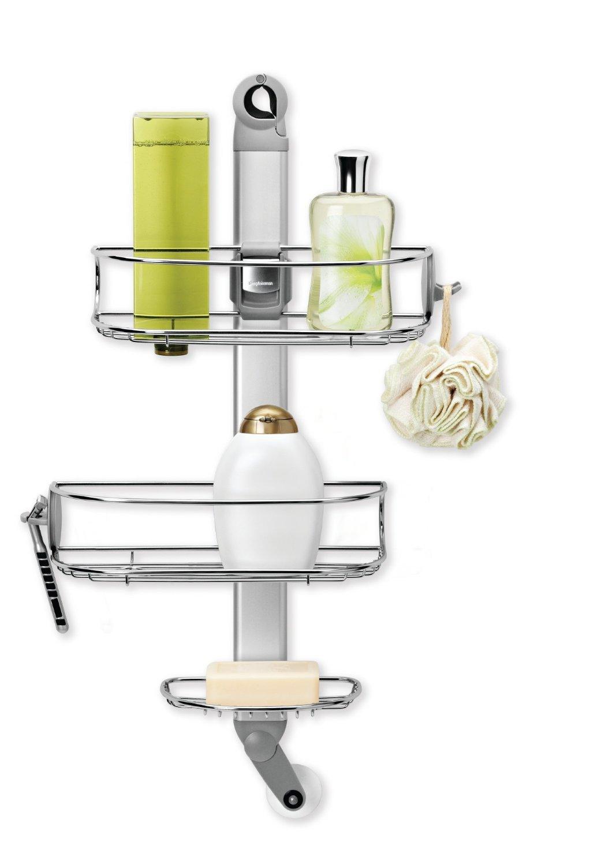 Simplehuman Nastavitelný set poliček a držáku do sprchy, závěsný, matná eloxovaná ocel - skladem