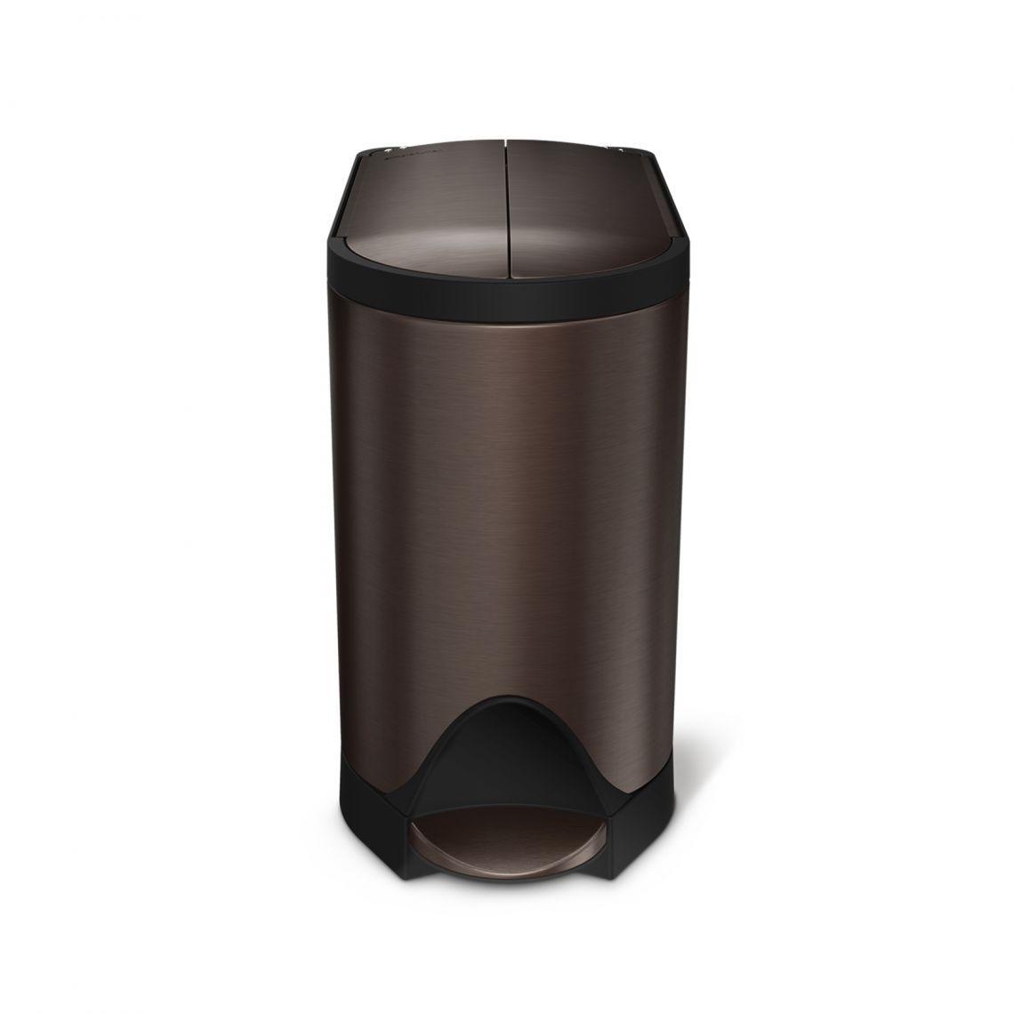 Pedálový odpadkový koš Simplehuman do koupelny – 10 l, butterfly víko, tmavý bronz ocel
