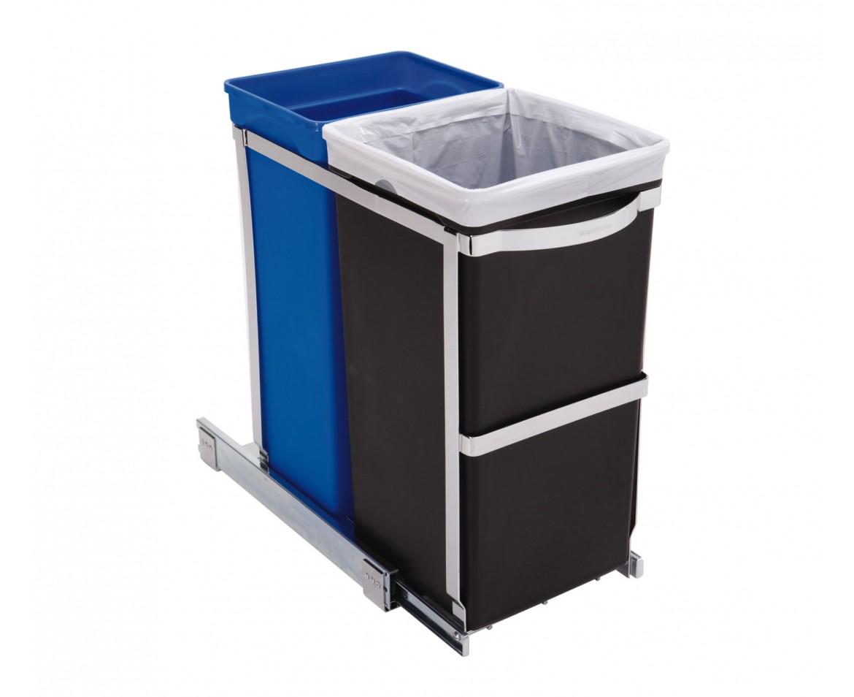 Vestavný odpadkový koš na tříděný odpad Simplehuman – 20/15 l, lesklá ocel - skladem