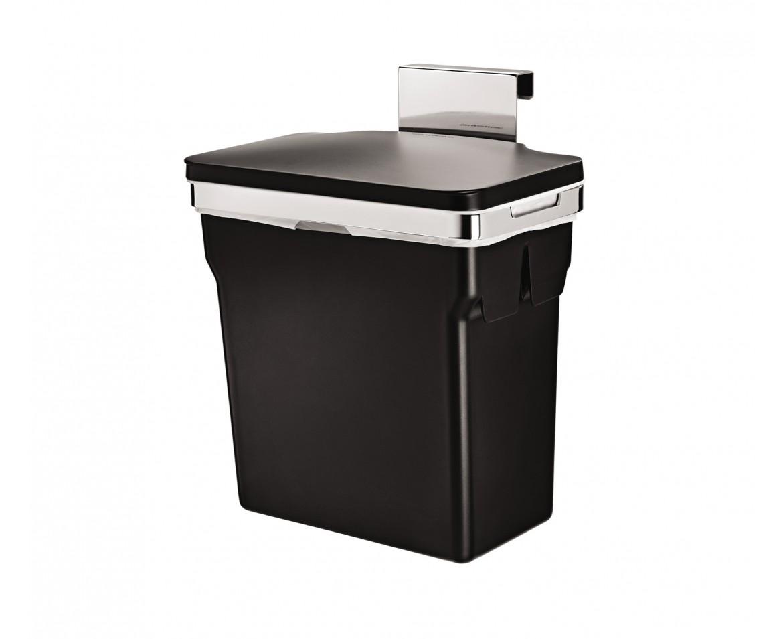 Vestavný odpadkový koš Simplehuman – 10 l, chromovaná ocel, plastový kbelík - skladem